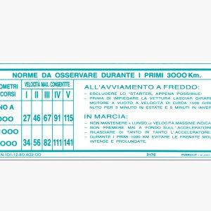AR90008164 Aufkleber Einfahrvorschr Frontsch 1750 2000